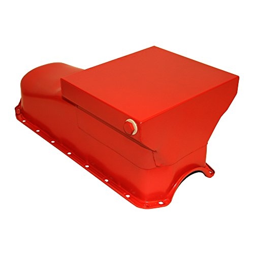 Assault Racing Products A9726 Small Block Chevy Orange Drag Style 7qt Oil Pan 2-Piece Rear Main SBC Pre-80