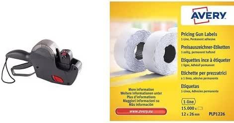 Avery - Pack etiquetadora (165 x 280 x 75 mm, 1 línea) + Rollo de etiquetas, 15000 unidades color blanco: Amazon.es: Oficina y papelería