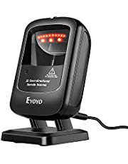 Eyoyo Handsfree 1D 2D Desktop Barcode Scanner, Omnidirectional Wired Desk Scanner with USB Cable, Automatic Image Screen Bar Code Reader for Supermarket Library Retail Store