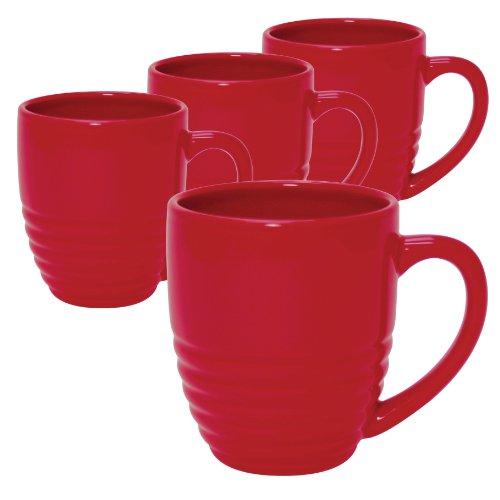 - Chantal Ring Mug, 20-Ounce, True Red, Set of 4
