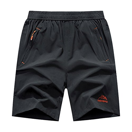 Donhobo Men's Outdoor Quick Dry Lightweight Sports Shorts Zipper Pockets (Grey,M)