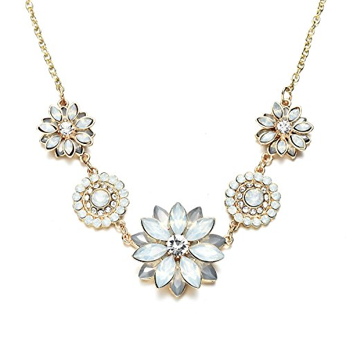 Onnea Gold Chain Fashion Rhinestone Lotus Statement Bib Pendant Necklace for Women (White)