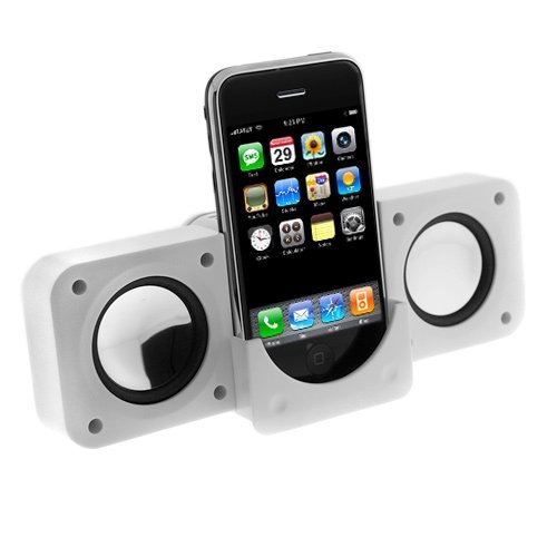 White Mini iPod Speakers for iPhone 5 5s SE 4 4GS 3 3GS iPod Nano 3rd Generation, iPod Touch, iPod Classic, iPod Video, iPod Nano, iPod Photo, Microsoft Zune, Portable Tavel Folding Speakers