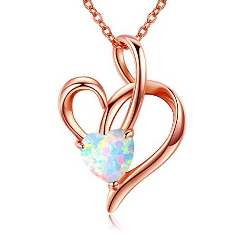 Sterling Silver Opal Synthetic Love Heart Pendant Necklace 18K Rose Gold Plated Jewelry for Women Teen Girls Kids ()