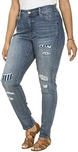 Women's Plus Size Striped Rip & Repair Jeans
