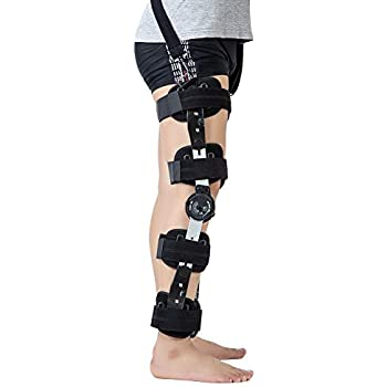 f2f780547c Hinged ROM Knee Brace with Strap, Adjustable Medical Orthopedic Support  Stabilizer Knee Brace Post OP Recovery Immobilization Splint