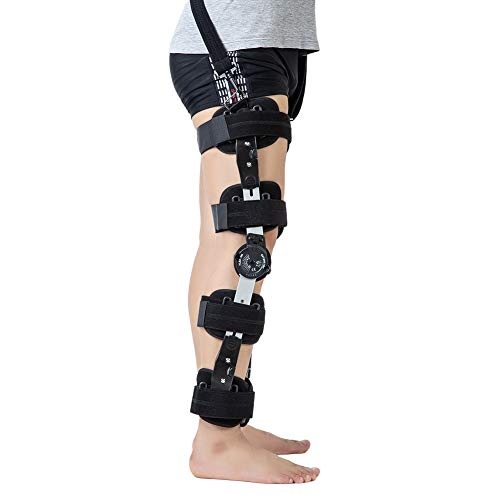 Hinged ROM Knee Brace with Strap, Adjustable Medical Orthopedic Support Stabilizer Knee Brace Post OP Recovery Immobilization Splint