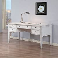 White Classics Wood Office Study Writing Desk with Drawers