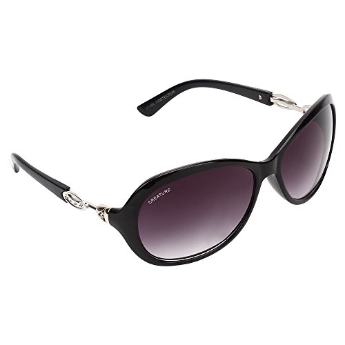 Creature Gaga Cat-Eye Oversized Sunglasses For Girls(Lens-Purple||Frame-Black||GAGA-007)