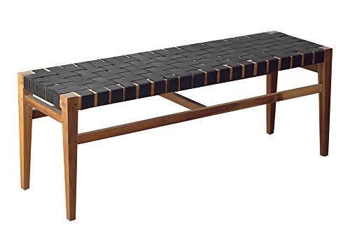 Teak Wood and Woven Black Rubber Grasshopper Bench (46 Inch)