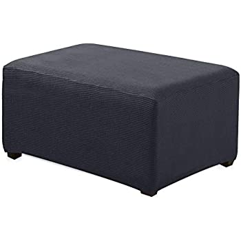 CHUN YI Oversized Ottoman Slipcover Jacquard Polyester Stretch Fabric Rectangle Folding Storage Stool Ottoman Cover Furniture Protector for Living Room ...