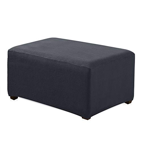 - CHUN YI Oversized Ottoman Slipcover Jacquard Polyester Stretch Fabric Rectangle Folding Storage Stool Ottoman Cover Furniture Protector for Living Room (Oversize, Gray)