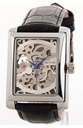 Croton Mens Croton Skeleton AUTOMATIC Movement Sharp Silver Rectangle Dial Black Leather Watch CI331066BSSL