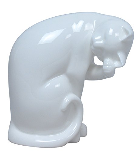 5 Inch All White Porcelain Cat Sitting and Grooming Her Head