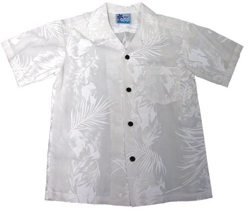 RJC Boys Fern Leaf Garden Wedding White Rayon Shirt 18 by RJC