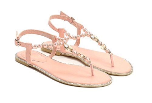 VICES selection design Anna Flat Sandal - Beaded Trim - Strap Closure - Beige - Black - Pink (US 6/EU 36, Pink)