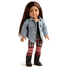 Sweet Dolly 3PC Doll Clothes Denim Jacket Tank Top Leggings Outfits For 18 inch American Girl Doll