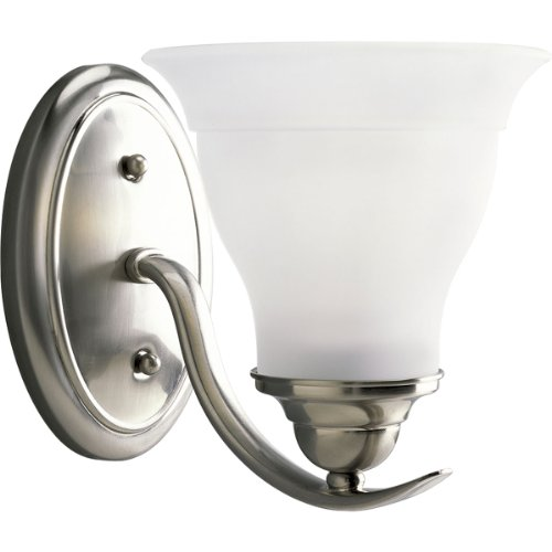 Progress Lighting P3190-09 1-Light Bath Bracket, Brushed Nickel (Sconce Nickel Lighting Progress Brushed)