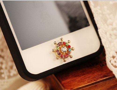 Big Mango Cute Steering Wheel with Bling Diamond Rhinestone Iphone Home Return Key Button Sticker / Phone Charms for Apple Iphone 5 Iphone 4 Ipod Touch Ipad Tablet Replace Replacement Colorful