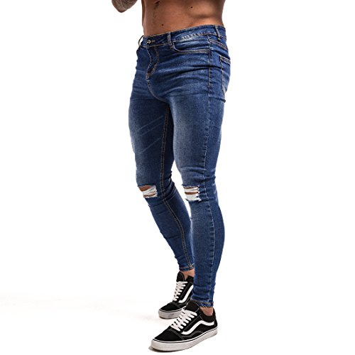 Tight Fit Jeans (Men's Ripped Repaired Skinny Stretch Jeans 28 Dark Blue Repaired)