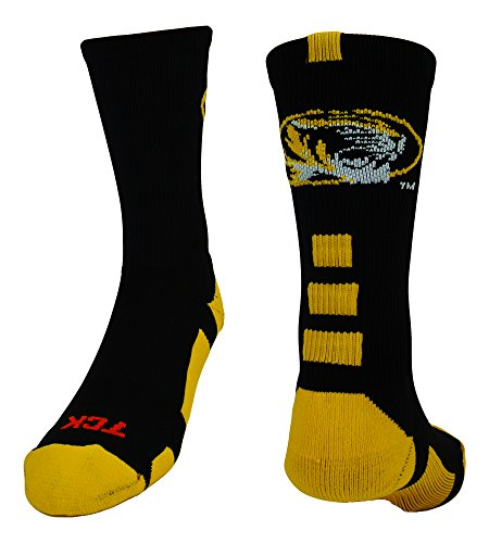 TCK Sports Missouri Baseline Crew Socks (Black/Gold, Small)