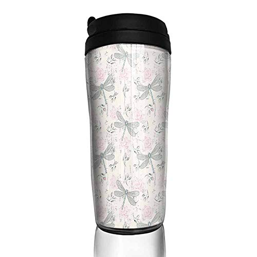 (coffee cups with lids 16 oz Dragonfly,Shabby Chic Roses Worn Old Vintage Backdrop with Moth Bugs Print,Pale Pink Pale Grey Coconut 12 oz,4 cup coffee packs for hotel)