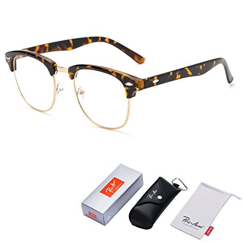 Pro Acme Vintage Inspired Semi-Rimless Clubmaster Clear Lens Glasses Frame Horn Rimmed - Glasses Clear Prescription Plastic