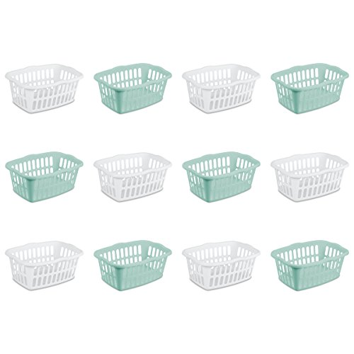 Sterilite 12459412 1.5 Bushel/53 Liter Rectangular Laundry Basket, White & Aqua Chrome, Assorted, 12-Pack ()