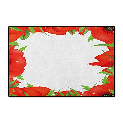 - Poppy,Door Mats for Bathroom,Lively Summer Meadow Frame Efflorescing Field in The Countryside Theme,Doorroom Mat for Tub Non Slip,Vermilion Green White,Size,20