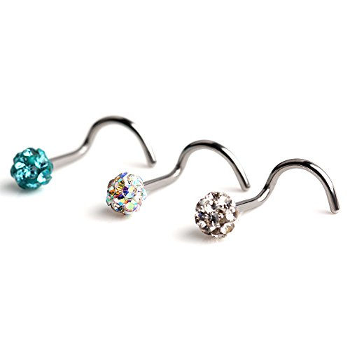 Ruifan 3PCS 18G Surgical Steel Clear & Colorful & Acid Gem Crystal Screw Nose Studs Ring Piercing (Gem Nose Screw Ring)