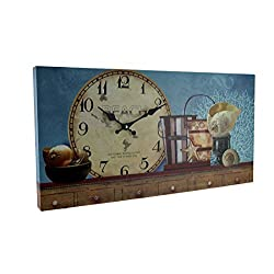 Beach Themed Decorative Wood Wall Clock (Blue) Wood Wall Clocks Blue