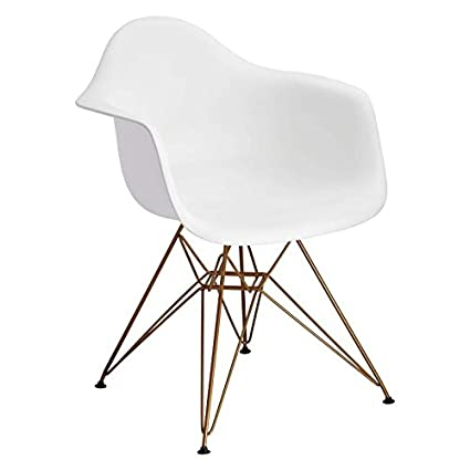 Design Guild Banks White Arm Chair With Gold Legs