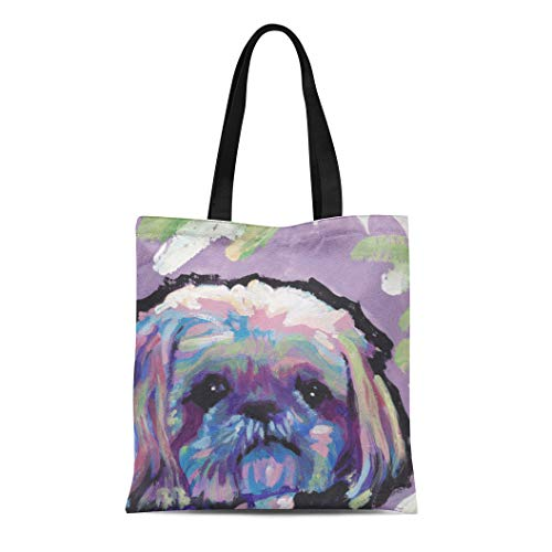 (Semtomn Cotton Line Canvas Tote Bag Painting Shih Tzu Bright Colorful Pop Portrait Colors Modern Reusable Handbag Shoulder Grocery Shopping Bags)