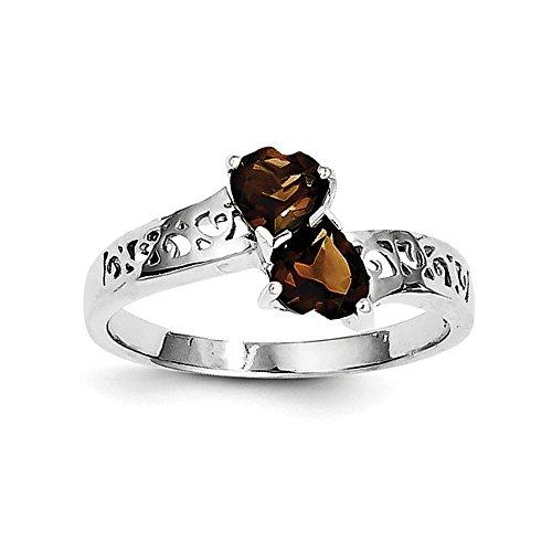 Sterling Silver Polished Open back Rhodium-plated Rhodium Smokey Quartz Heart Ring - Size 7