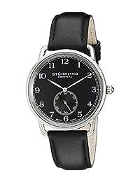 Stuhrling Original Men's 207.02 Classic Cuvette Decor Swiss Quartz Black Leather Strap Watch