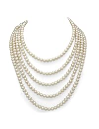 White Genuine Freshwater Cultured High Luster Pearl Endless Necklace, 100""