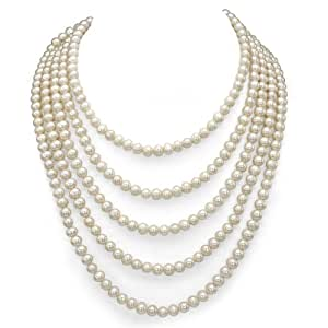 5-5.5mm White Freshwater Cultured High Luster Pearl Endless Necklace, 100""