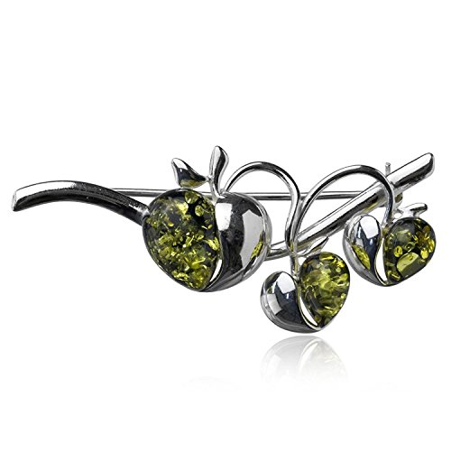 Bezel Brooch Sterling Silver (Sterling Silver Green Amber Apple Pin)
