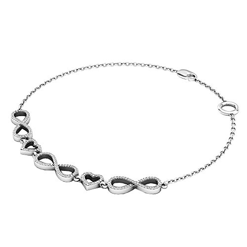 DazzlingRock Collection 0.25 Carat (ctw) 14K White Gold Round White Diamond Ladies Infinity Heart Link Bracelet 1/4 (0.25 Ct Diamond Bracelet)