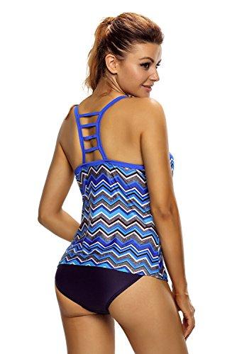 Nuovo da donna blu e grigio zigzag Racer back Swim Vest top Beach Wear top abbigliamento casual vestiti taglia S UK 8–10EU 36–38