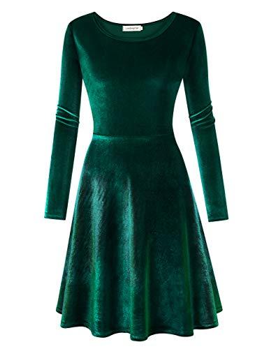 Leadingstar Women s Velvet Long Sleeve A-Line Swing Eleglant Skater Mini  Dress 9656e3789