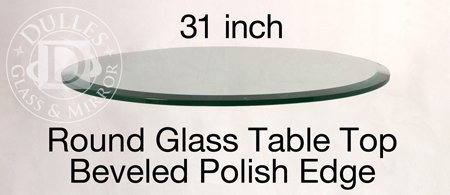 TroySys Round Glass Table Top, 1/2'' Thick, Beveled Edge, Annealed Glass, 31'' L by TroySys