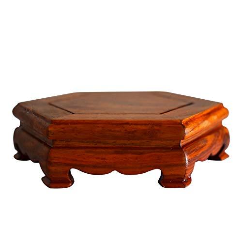 RYH Beautiful Hand Craft Hexagon Rosewood Oriental Fishbowl Vase Stand -