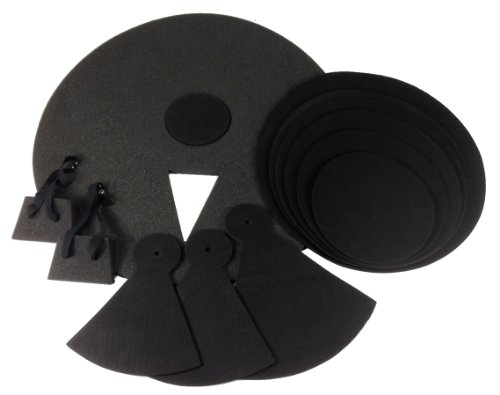 12 Piece DRUM PRACTICE PADS - Silent Black Foam Quiet 12-pcs Covers NEW SET
