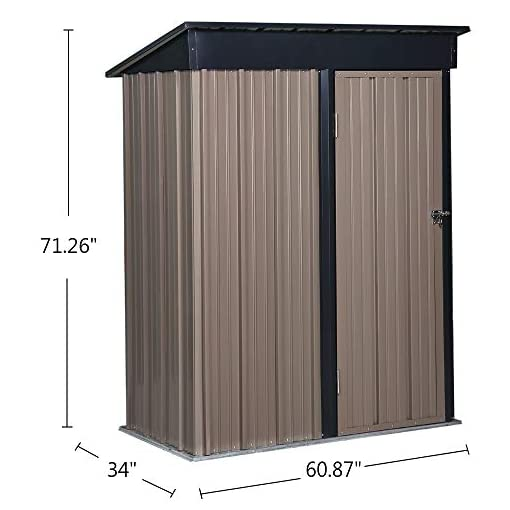 Garden and Outdoor GDY 5 x 3 FT Steel Storage Shed, Backyard Metal Roof Lawn Building Garage outdoor storage sheds