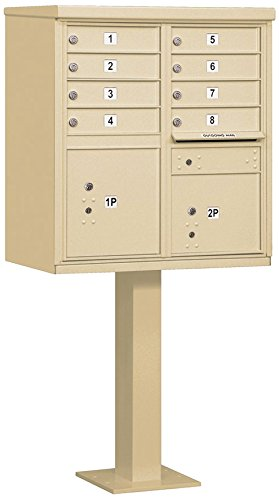 Salsbury Industries 3308SAN-P Cluster Box Unit with Pedestal and Master Locks, 8 A Size Doors, Type I, Sandstone by Salsbury Industries
