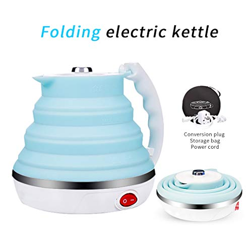 Sttech1 Travel Foldable Electric Kettle, Dual Voltage, Fast Water Boiling, Collapsible Portable Food Grade Silicone Electric Water Kettle (A Folding Kettle +EVA Bag + Conversion Plug)
