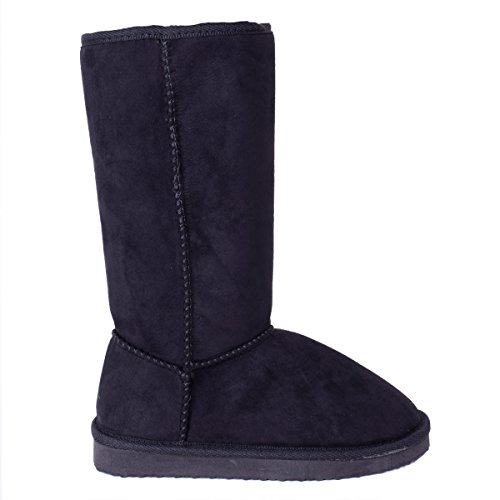 LAW Shoes & Clothing Womens Ladies Slip On Mid Calf Ankle Fleece Lined Winter Boots Shoe Size Black Faux Suede Ktt7fmDT0