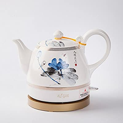 GPC Ceramic Electric Kettle Chinese Ceramics Chinese Classical Lotus Watercolor Painting Energy Saving Safety 1L Electric Kettles