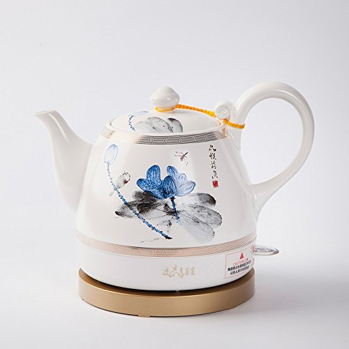 XUEQIN Ceramic Electric Kettle Chinese Pottery Chinese Classic Lotus Watercolor Painting Energy Saving Safety 1L Kettle (Color : -, Size : -)